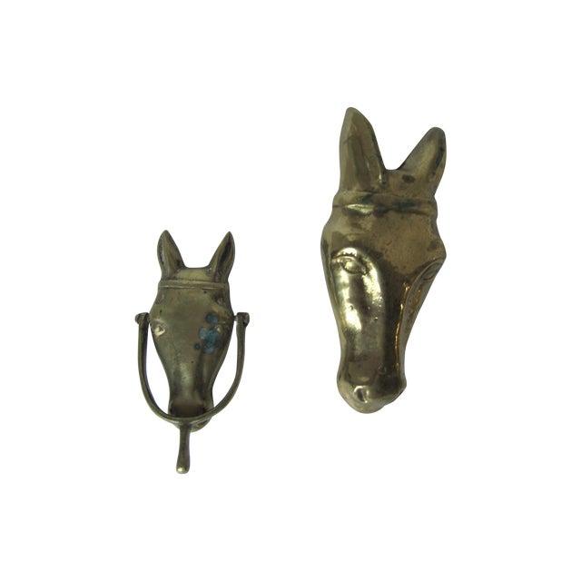 Brass horse door knocker object a pair chairish - Horse door knocker ...