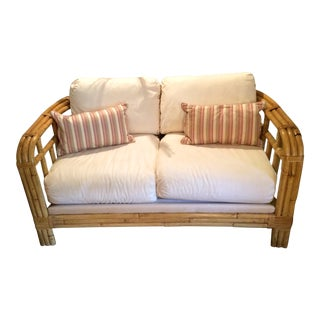 Ralph Lauren Bamboo Rattan Loveseat With Pillows