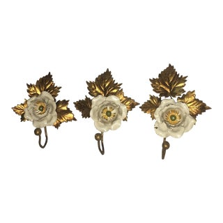 Flower Motif Gilded Shabby Chic Coat Hangers - Set of 3