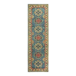 "Kazak Garish Jewel Blue Ivory Wool Rug - 2'9"" x 9'8"""