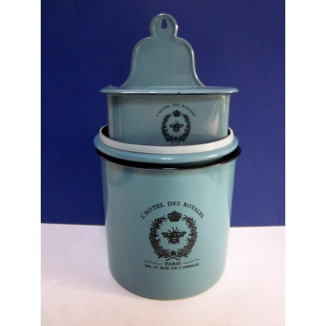 Image of French Enamelware Container Mail Holders - 3