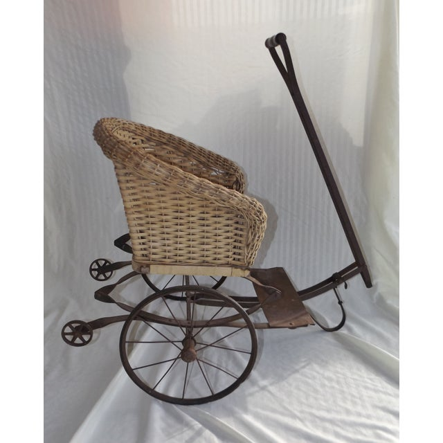 Antique Wicker Childs 2 Wheel Sulky Carriage - Image 3 of 8