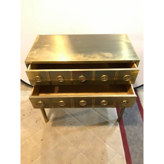 Mastercraft Brass Two-Drawer Small Chest of Drawers Cabinet - Image 7 of 9