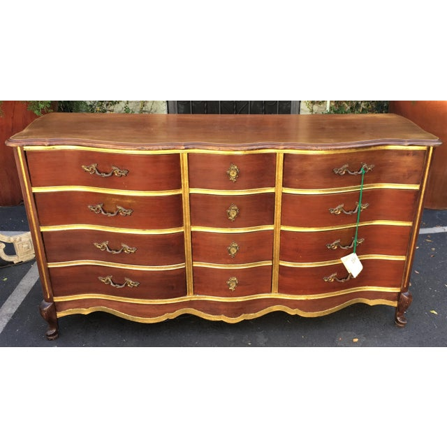Antique Walnut & Gilt-wood Buffet or Chest of Drawers by Bassett - Image 4 of 4