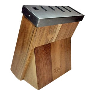 Il Mulino New York Acacia & Stainless Knife Block