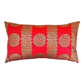 Red & Gold Cowrie Shell African Print Lumbar Pillow Cover
