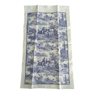Blue & White Hunting Toile Linen Tea Towel