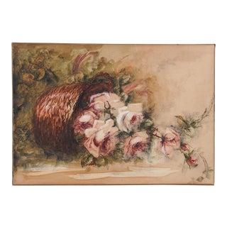 Pink Roses in Basket Watercolor Painting