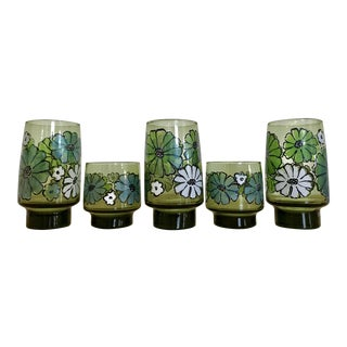 Retro 70's Painted Glass Tumblers - Set of 5