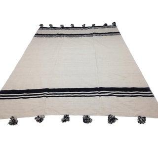 Handmade Moroccan Striped Pom Pom Blanket