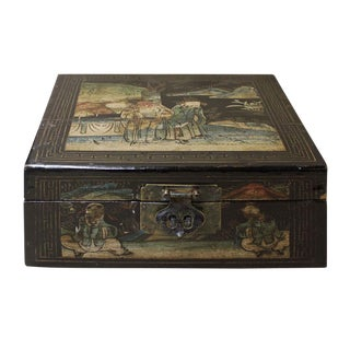 Vintage Chinese Square Wood Black Lacquer Box Display cs2592