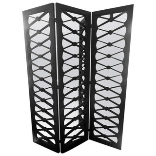 Black X Motif Mirrored 3 Panel Screen