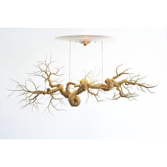 Twisted Brass Wire Chandelier - Image 2 of 3
