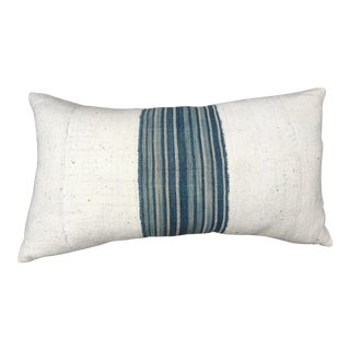 African Mud Cloth Pillow With Indigo Striped Band