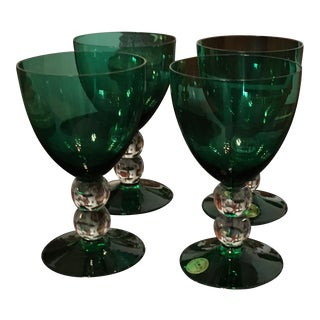 "Emerald Green S/4 Czech Hand-Cut / Mouth Blown Goblets by ""Block Crystal"""