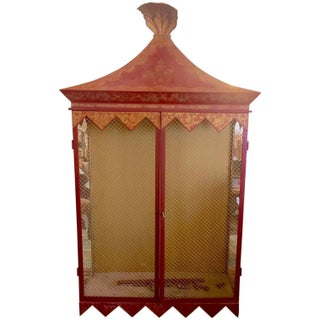 Chinoiserie Style Metal Tole Hanging Cabinet
