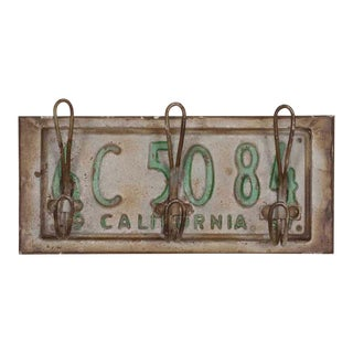 Vintage License Plate Three Hook Rack