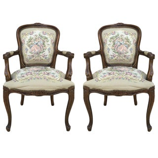French Carved Louis Arm Chair - A Pair