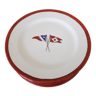 Antique French Yacht Porcelain Lunch Plates - Set of 7