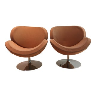Bo Concept Orange Shelly Chairs - A Pair