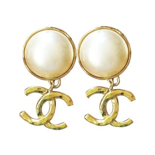 Chanel Classic Pearl & Gold CC Dangle Earrings