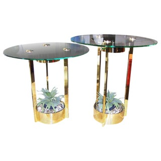 Dorothy Thorpe Illuminated Side Tables in Brass and Glass