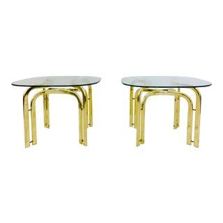 Modern Brass Side Tables - A Pair
