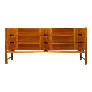 Swedish Teak Carved-Front Long Dresser Attr. Edmond Spence