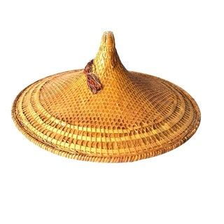Large Asian Wicker Field Hat