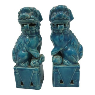 Japanese Turquoise Foo Dogs - A Pair
