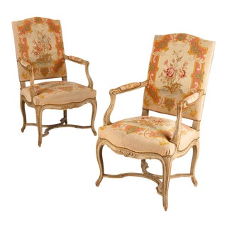 Pair of French Louis XV Style Painted Armchairs, Circa 1920s