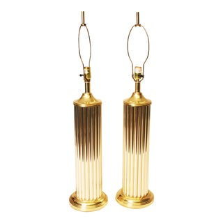 Hollywood Regency Gold Metal Table Lamps - A Pair