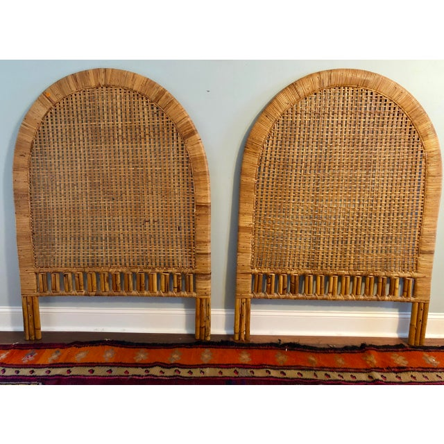 Vintage Mid-Century Arched Cane Rattan Twin Headboards - a Pair - Image 9 of 9