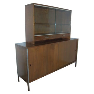 Mid Century Walnut Credenza With Matching Hutch