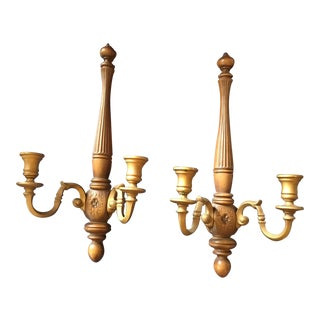 Syroco Wood Candelabra Sconces - a Pair