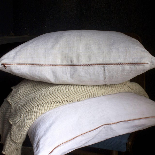 Vintage Linen Pillow Cover With Copper Zipper - Image 3 of 6
