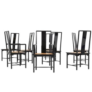 1970s Vintage Italian Lacquered Dining Chairs - Set of 8
