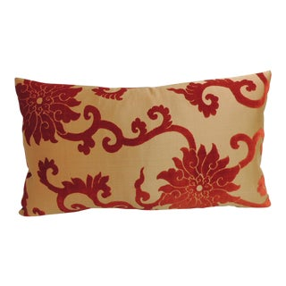 Antique Asian Silk and Cut Velvet Orange Decorative Lumbar Pillow