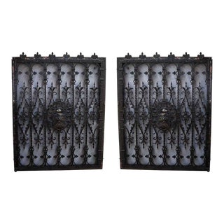 19th C. Tudor Wrought Iron Window Guards - A Pair