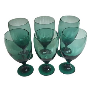 Emerald Green Glasses - Set of 6