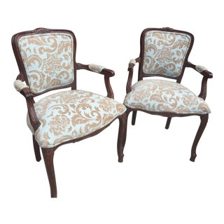 French Upholstered Side Chairs - A Pair