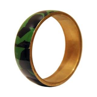 Brass, Black & Emerald Green Bangle Bracelet