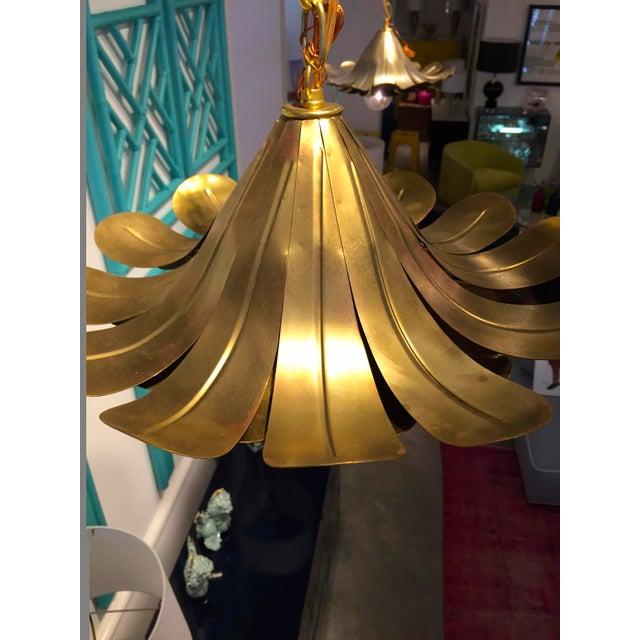 "Pair of Feldman Brass ""Lotus"" Pendant Chandeliers - Image 5 of 6"