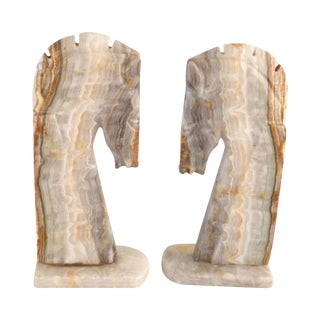 Handmade Onyx Horse Bookends - A Pair