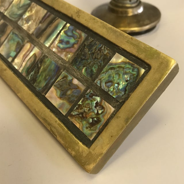 Mid-Century Brass & Abalone Door Pull - Image 4 of 9