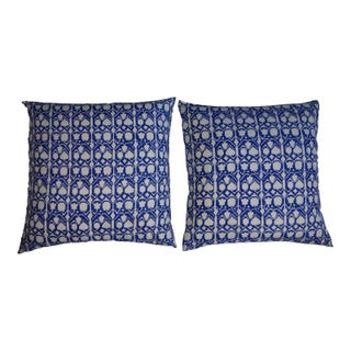 Blue and White Graphic Print Pillows - Pair