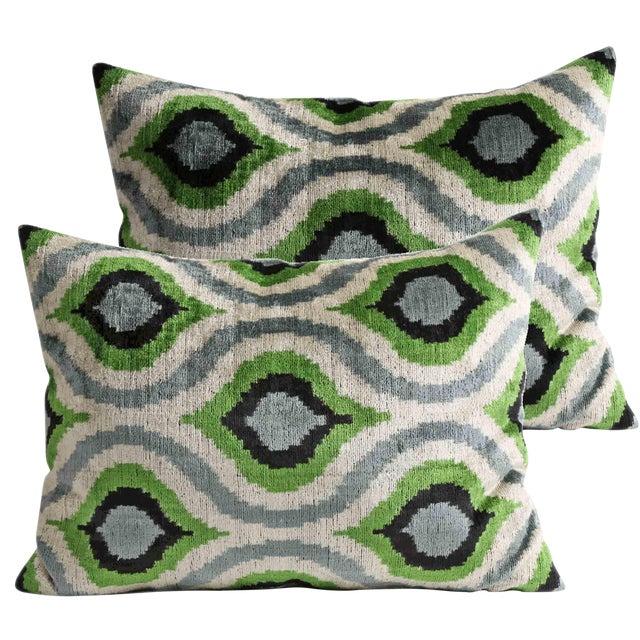 Silk Velvet Pillows - A Pair - Image 1 of 3