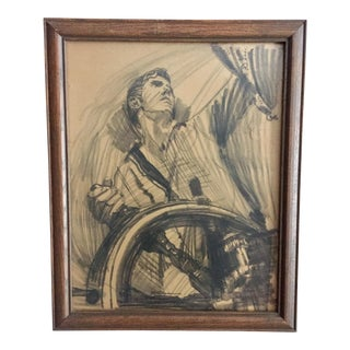 Mid-Century Young Sailor Charcoal Drawing