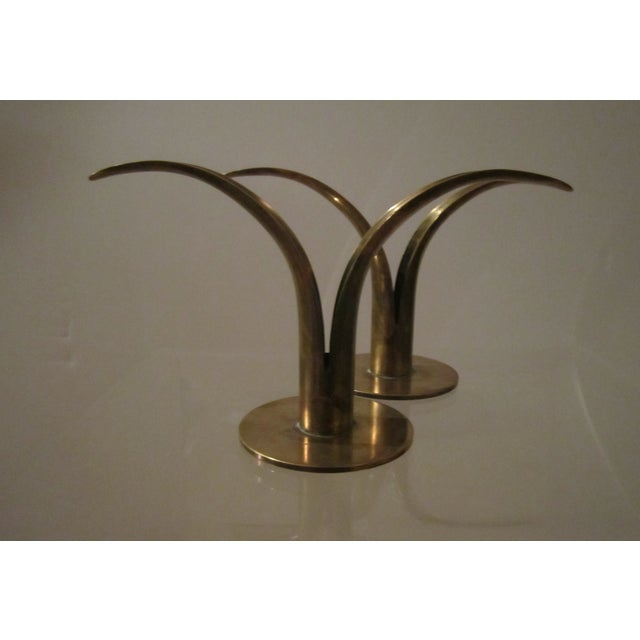 Image of Ystad Swedish Brass Candlestick Holders - Pair