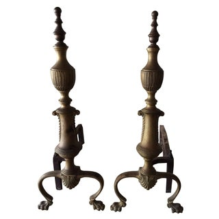 Antique Regency Brass Andirons - Pair